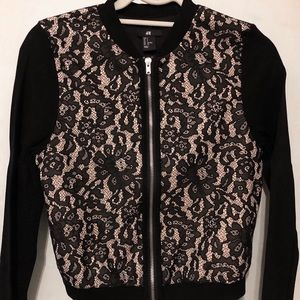 Zip up lace track jacket
